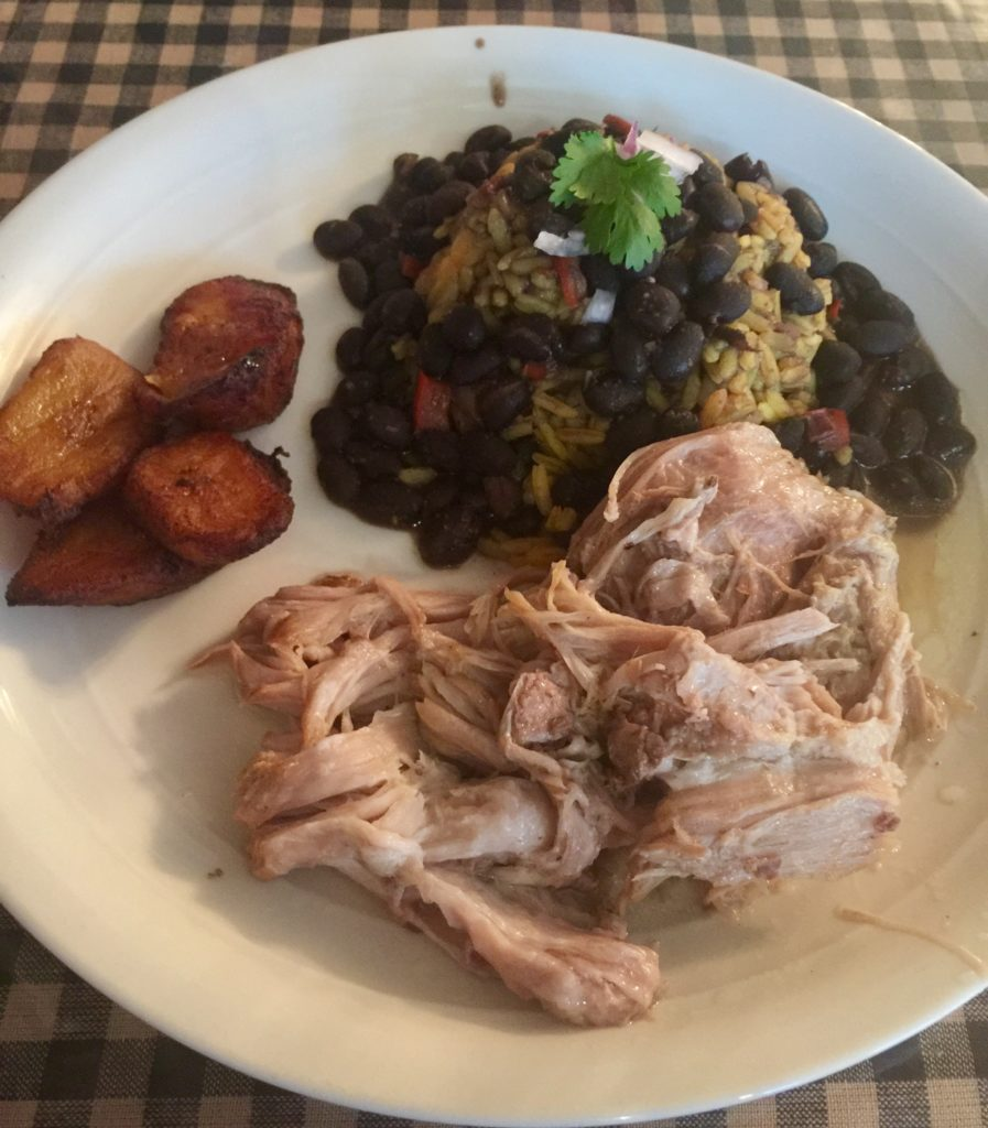Pork, Rice Beans from Abuelas Cuban Cafe Crossville Tennessee