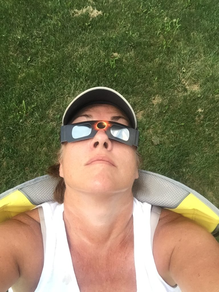 Author watching eclipse 2017 with solar glasses Cumberland State Park Tennessee