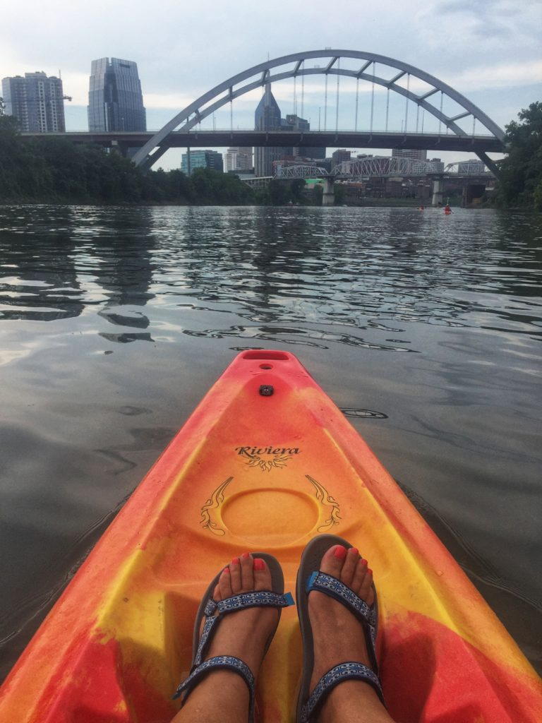 Nashville Skyline form a Kayak