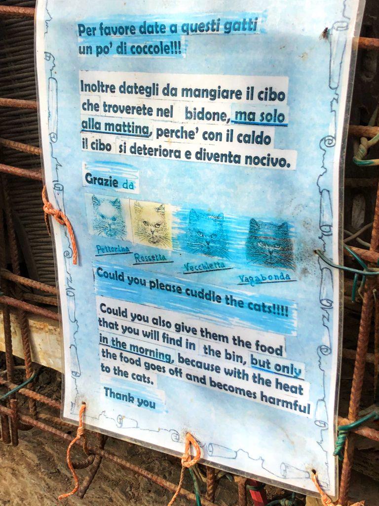 Sign at feral cat sanctuary in Cinque Terre