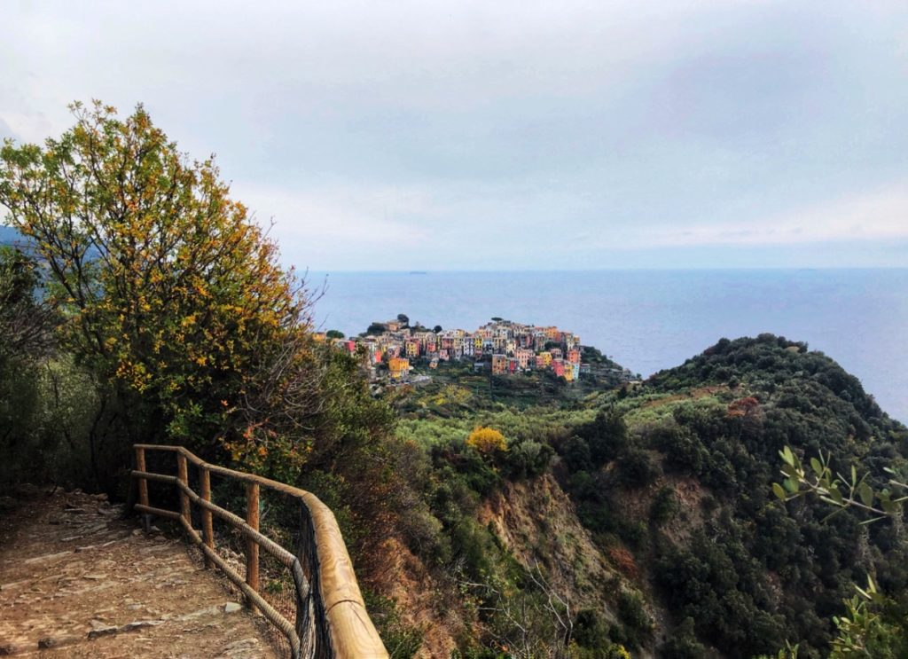 View of village of Cornigia at Cinque Terre