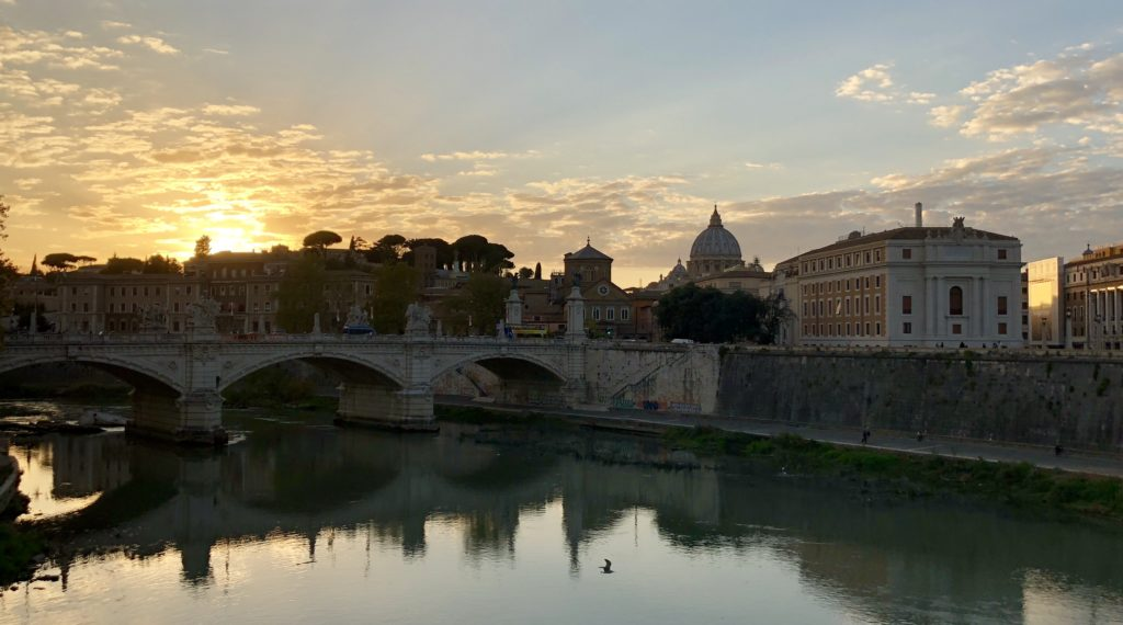 Sunset over Tiber River, Vatican City, rome