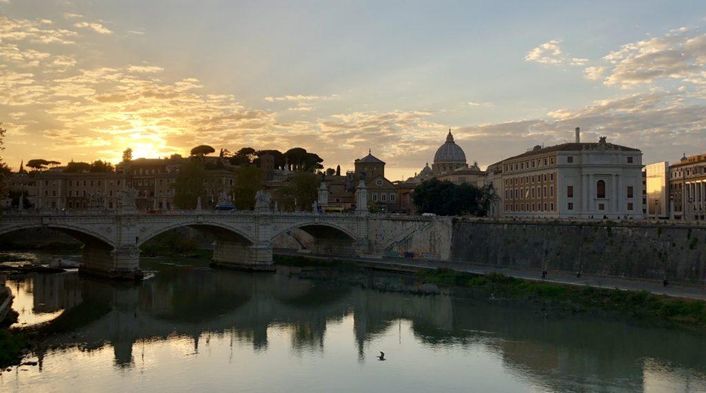 Sunset over Tiber River, Vatican City, rome