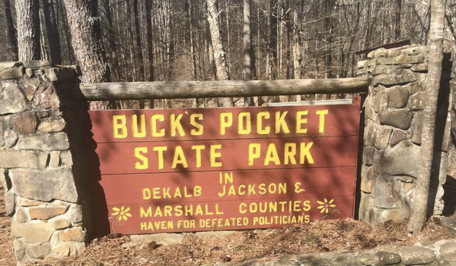 Sign at Entrance to Buck's Pocket State Park. Hike 7 of 52 in 52 Weeks 52 Hikes.