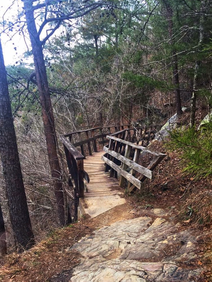 Wooden bridge attached to rock cliff on Chinnabee Silent Trail