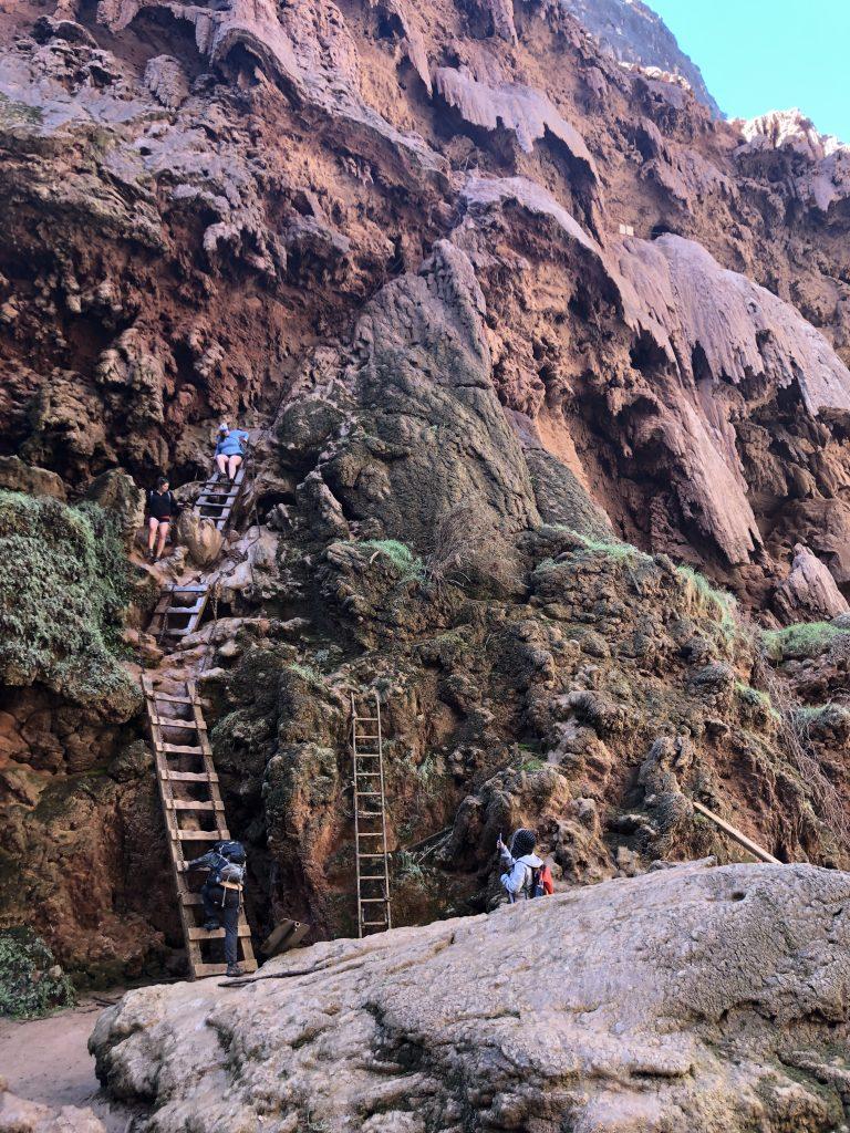 Ladders to Mooney Falls at Havasupai